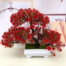 Fleurs artificielles accueillantes, Simulation de bonsaï de pin et de couronnes décoratives, fausses plantes en Pot vert pour décor de la maison