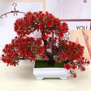 Image 1 - Gorące sztuczne kwiaty powitanie sosna Bonsai symulacja kwiaty ozdobne i wieńce fałszywe zielone rośliny doniczkowe Home Decor