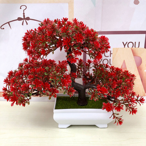 Image 1 - Hot Artificial Flowers Welcoming Pine Bonsai Simulation Decorative flowers and Wreaths Fake Green Pot Plants Home Decor