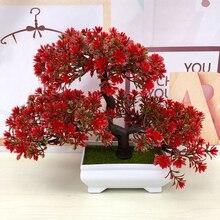 Hotประดิษฐ์ดอกไม้ต้อนรับPine Bonsaiจำลองดอกไม้ตกแต่งและพวงหรีดสีเขียวปลอมหม้อพืชตกแต่งบ้าน