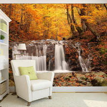 Beautiful Autumn Forest Waterfall Landscape 3D Wall Painting