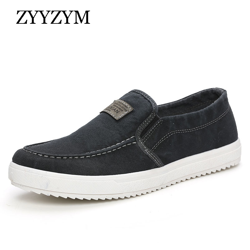 ZYYZYM Men Canvas Shoes Spring Autumn Slip-ON Retro Style Breathable Fashion Casual Students Shoes xiaying smile spring autumn winter style woman shoes casual fashion cool increased internal shoes slip on rubber women shoes