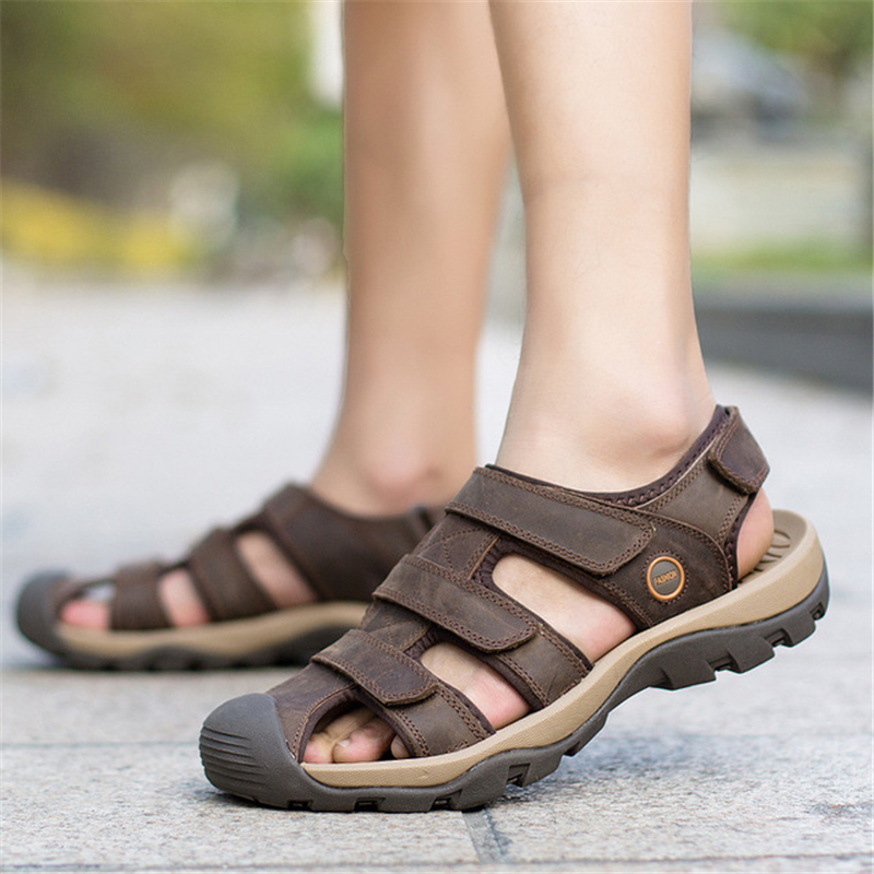 609561a80fde Men Hook Loop Leather Sandals Male Breathable Beach Roman Sandals Men  Comfortable Outdoors Casual Cut Out Shoes AA51624-in Men s Sandals from  Shoes on ...