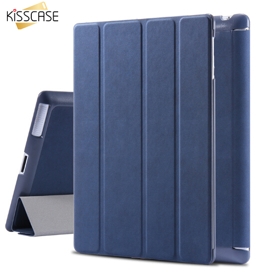 KISSCASE Leather Case for iPad 2 3 4 Sleep Awake Flip Cover for apple ipad2 ipad3 ipad4 Folded Stand Tablets Accessories Bags