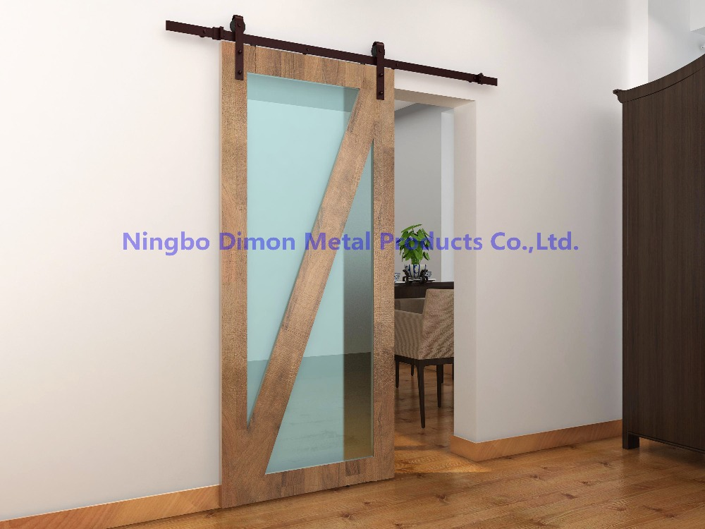 Купить с кэшбэком Free shipping Dimon America style hot sell cheap wooden sliding barn door hardware DM-SDU 7201 without sliding track
