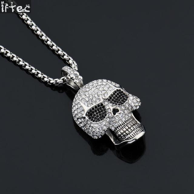 Hiphop punk gothic black crystal skull pendants necklaces titanium hiphop punk gothic black crystal skull pendants necklaces titanium steel chain halloween necklace for men women aloadofball Choice Image