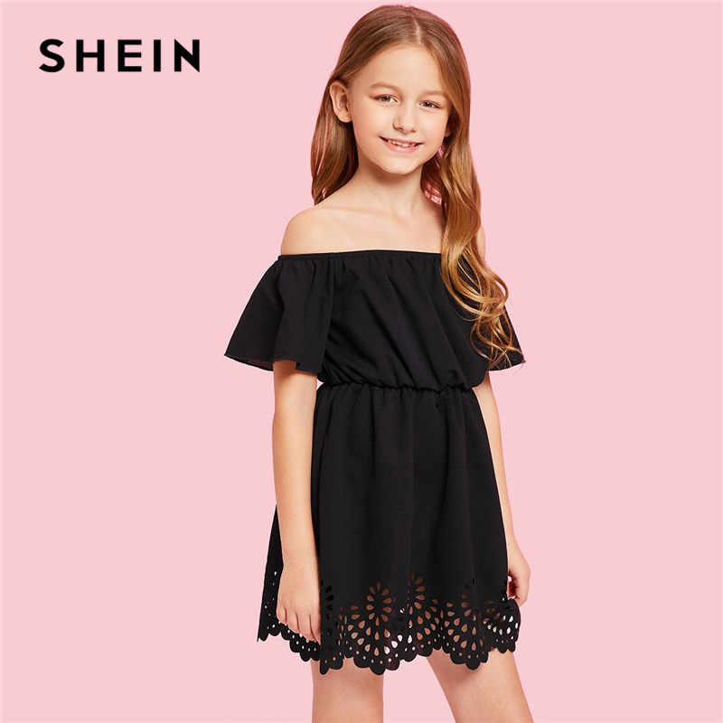 SHEIN Black Solid Off The Shoulder Cut Out Casual Dress Girls Clothing 2019 Spring Fashion Short Sleeve A Line Girls Dresses off shoulder lace contrast dress