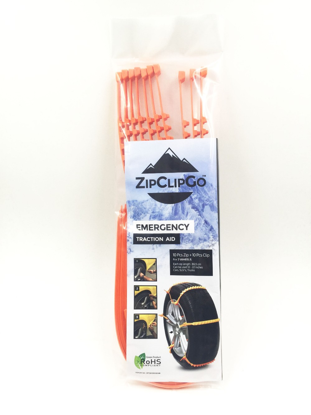 ZipClipGo Life Saver---Emergency Traction Aid Tire Snow Chains---Anti Wheel Slip Chain