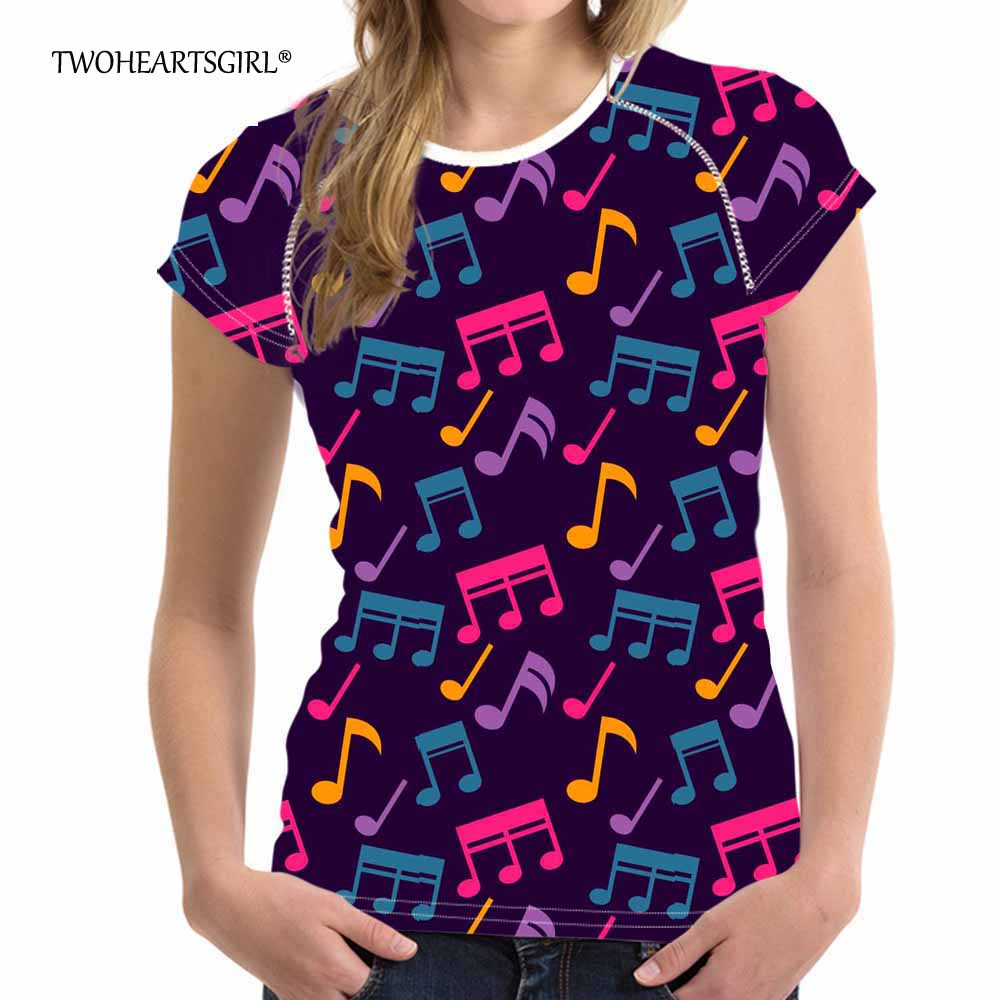 Twoheartsgirl Multicolor Mustic Notes T Shirts Comfort Summer Women Tops T-shirt Slim Fit Ladies Femme Short Sleeve Plus XXL