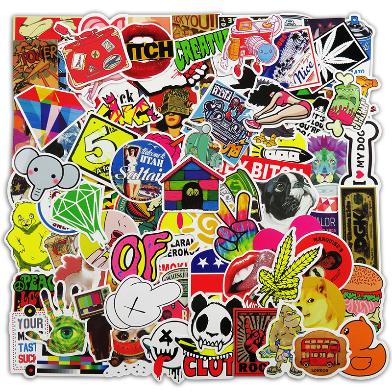 100 Pcs Mixed Stickers Hot Sale Snowboard Doodle Luggage Laptop Decal Toys Bike Car Motorcycle Phone Cartoon Jdm Funny Sticker vintage lady beauty luggage skateboard stickers pvc waterproof sunscreen car stickers 5 12cm laptop stickers