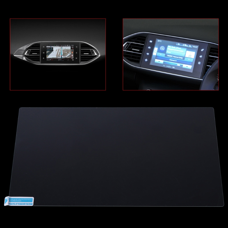 Hot New 1 Set 9.7 Inch Auto Car Navigation Tempered Glass Film Screen Protector Case For Peugeot 308 408 508 208 High Quality