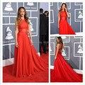 Sexy espalda abierta la gasa Formal vestidos largos sin mangas Criss-Cross con tren celebridad de la alfombra roja vestidos del vestido por encargo