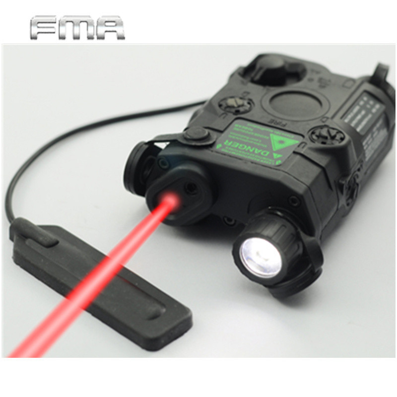 Airsoft AN/PEQ-15 Red Dot Laser White LED Flashlight 270 Lumens for Standard 20mm Rail Night Vision Hunting Rifle Battery Case