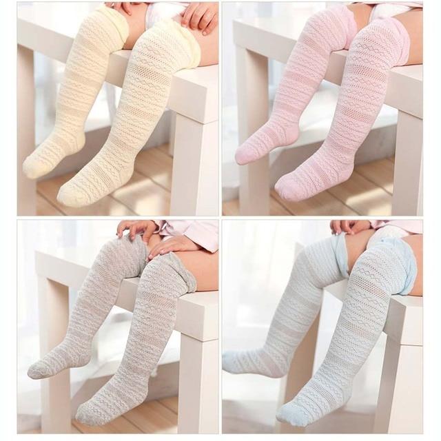 2b54c31411e Baby Girls Knee High Socks Kids Children Cute Lace Bows Princess Leg  Warmers Solid Cotton Girl