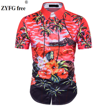 Male Casual shirts New 2018 summer 3D Palm tree Sandy beach printing pattern Fit short Sleeve Beach shirt men EU/US size Tops