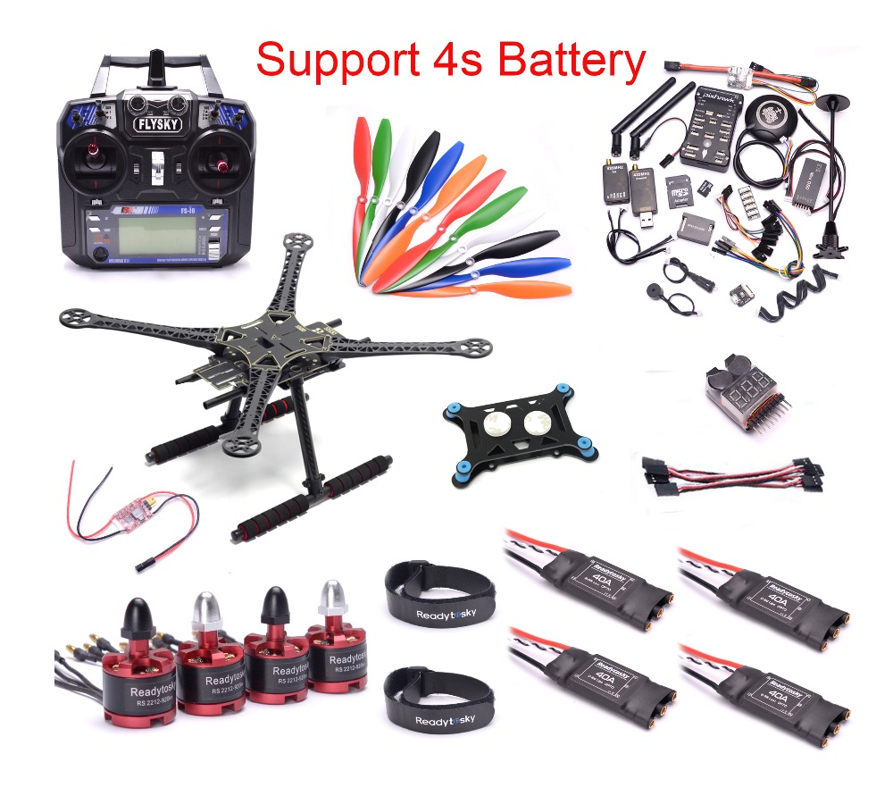 S500 500 milímetros PCB Kit Quadcopter PIXHAWK 2.4.8 M8N GPS Telemetria 2212 920KV 40A ESC Do Motor 1045 Prop I6 Flysky