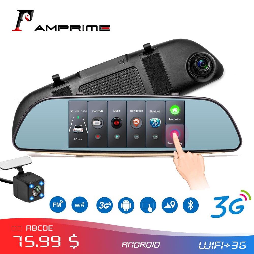 AMPrime Android voiture DVR Dashcam double tableau de bord caméra enregistreur écran tactile vue arrière GPS Bluetooth WIFI moniteur de stationnement miroir