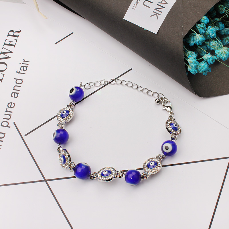 fashion blue glass evil eye bead with alloy evil eye charm turkey bracelet for girls