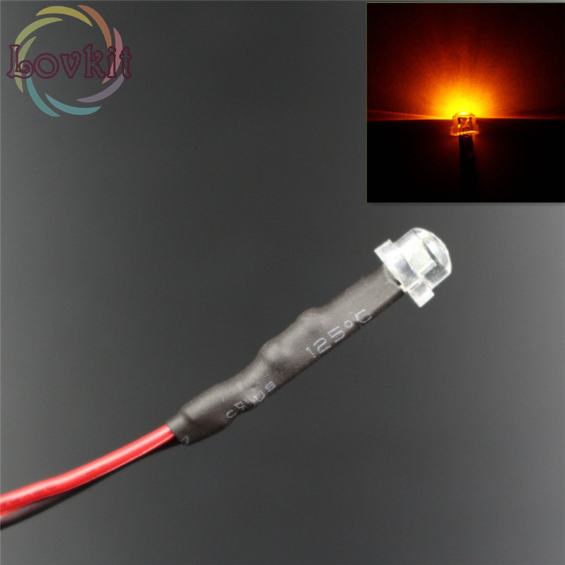 50pcs 5mm Pre-Wired Resistor 12V DC 20cm Super Bright Orange/Amber LED Light-emitting Diode Straw Hat Astigmia For Car Toy DIY