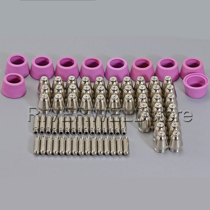 SG-55 AG-60 Air Plasma KIT Nozzles Electrodes TIPS 0.9mm(1.0mm for optional) Fit Plasma Cutter Cutting Torch Consumables, 80pcs plasma tips 1 0mm 50amp and plasma electrodes fit sh 4 plasma torch consumables accessories 50pcs