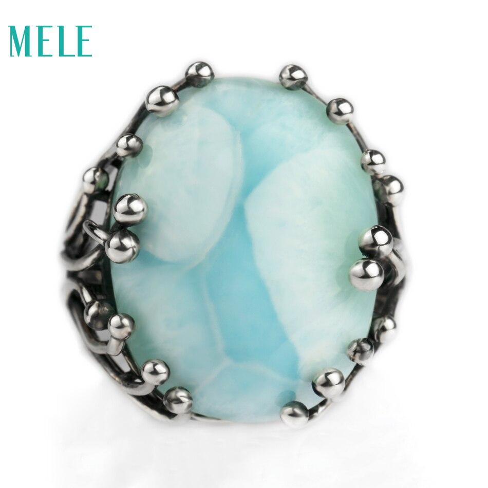 Natural larimar plata oval 15mm * 20mm, piedra azul y diseño especial, hombres y mujeres, aitistic y exquisito