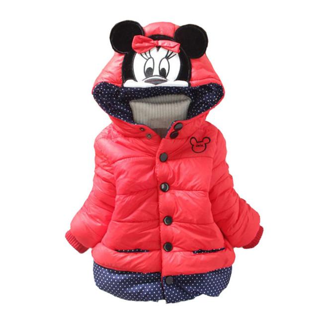 Os Recém-chegados, 4 Cores 2016 Meninas Coreanas Inverno Avisar Brasão Thich, bebê Boys & Girls Jacket & Brasão Dos Desenhos Animados Minnie, Crianças Inverno Outwear