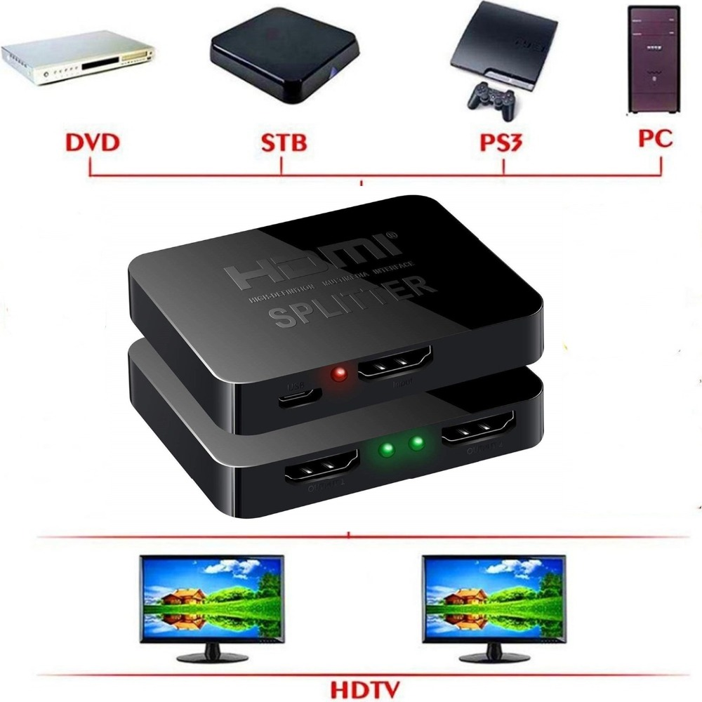 4K Splitter Full HD 1080p 1X2 HDMI switch 3D 1 input 2 output HDMI Splitter audio video swither Converter for DVD xbox 360 ps3 цена и фото
