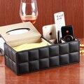 Caixa de armazenamento de controle remoto de desktop couro multifuncional mesa de café da moda caixa de bombeamento tecido caixa