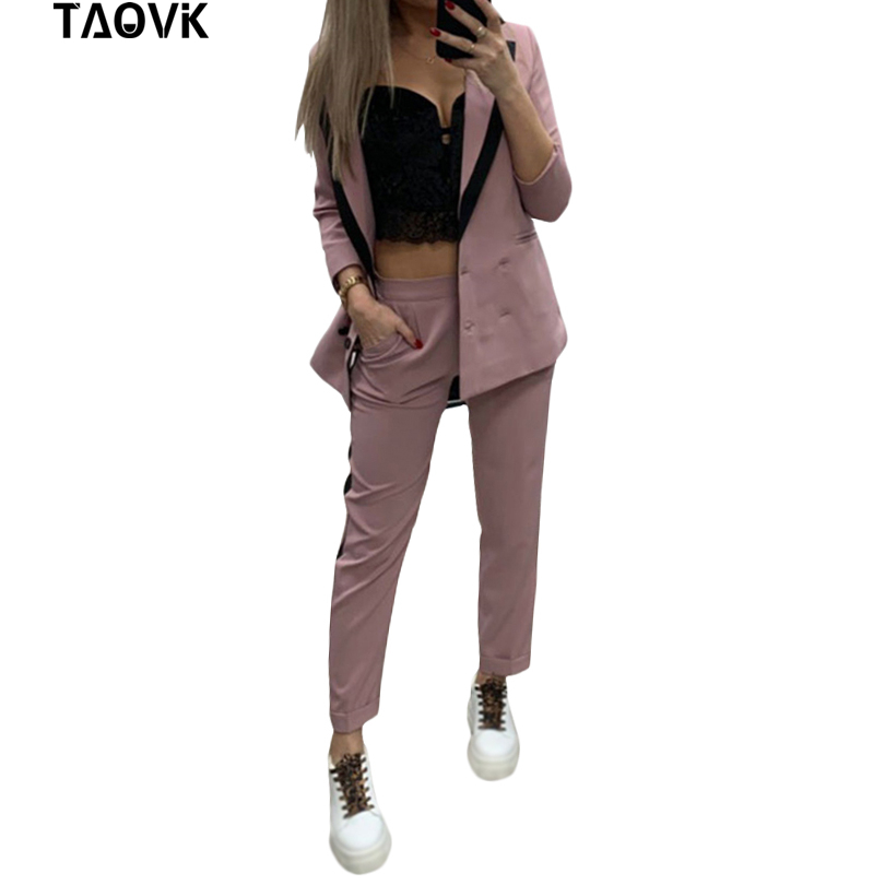 TAOVK Work Pant Suits OL 2 Piece Set For Women Colorblock Collar Double Breasted Blazer And Straight Pants Office Lady Suit