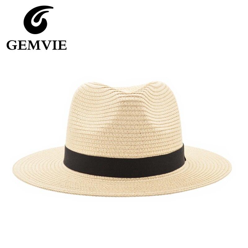2017 Novos Chapéus de Verão Para Mulheres Chapéu de Palha Fita Preta Moda  Senhora Da Igreja Caps Chapéu de Sol Da Praia ccff5e667c