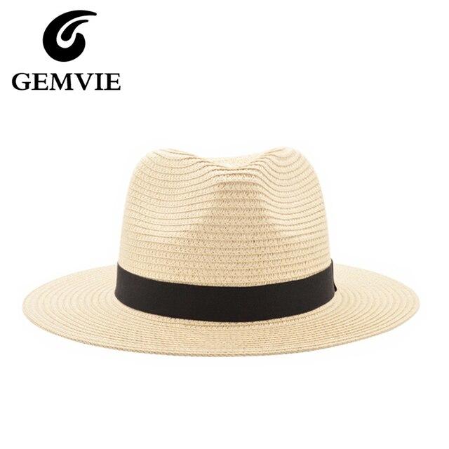 Nuevos sombreros del verano para las mujeres negro cinta del sombrero de  paja de la manera 89279c13942