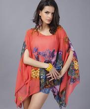 S – 4XL 5XL 6XL Plus size women dress,batwing sleeve shawl casual chiffon dress vestidos femininos blusas femininas girl dress