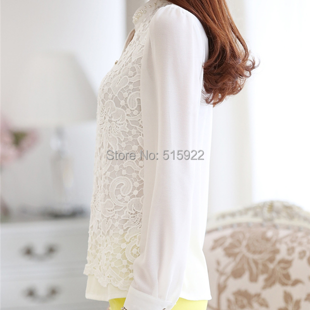 2018 New Arrival Women Lace Blouse Long sleeve Beading Crochet White Chiffon Shirt Plus size loose blusas 60B6