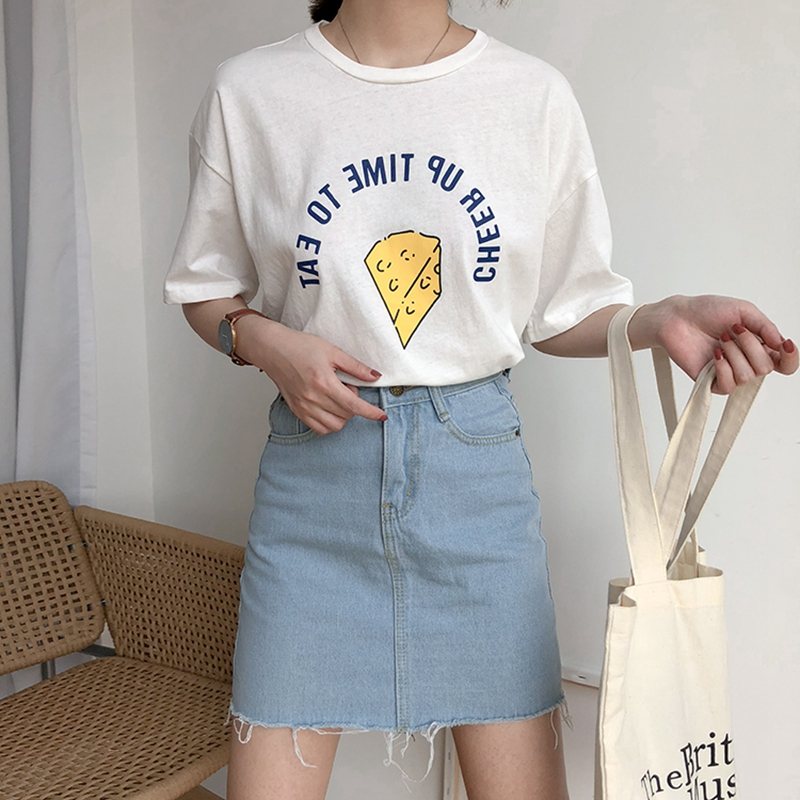 New Summer Fashion Preppy Style Women Letters Cheese Print t shirt short sleeve casual cotton tops t shirt tshirt women clothing in T Shirts from Women 39 s Clothing