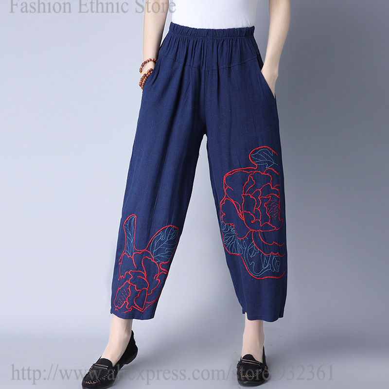 Women embroidery Corduroy Pants Autumn Winter Vintage Fashion Straight  Trousers Elastic waist Casual pants Wide Leg ... 69a1ef8fb5