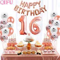 QIFU Süße 16 Rose Gold Party Tisch Dekoration Glücklich Geburtstag Party Dekorationen Kinder Erwachsene 18th Geburtstag Party Favors Supplies