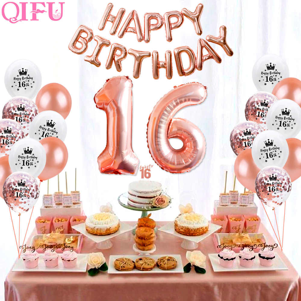 QIFU Sweet 16 Rose Gold Party Table Decoration Happy Birthday Decorations Kids Adult 16th