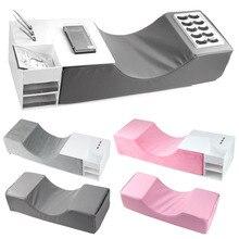 Extensiones de almohada para pestañas, almohada de espuma viscoelástica para pestañas de cuello con estante acrílico, organizador, soporte para injerto, salón de pestañas, herramientas de maquillaje