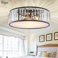 Lámpara de techo de cristal de Lustre redonda americana Retro mate Metal Led luz de techo para accesorios de pasillo de porche de dormitorio