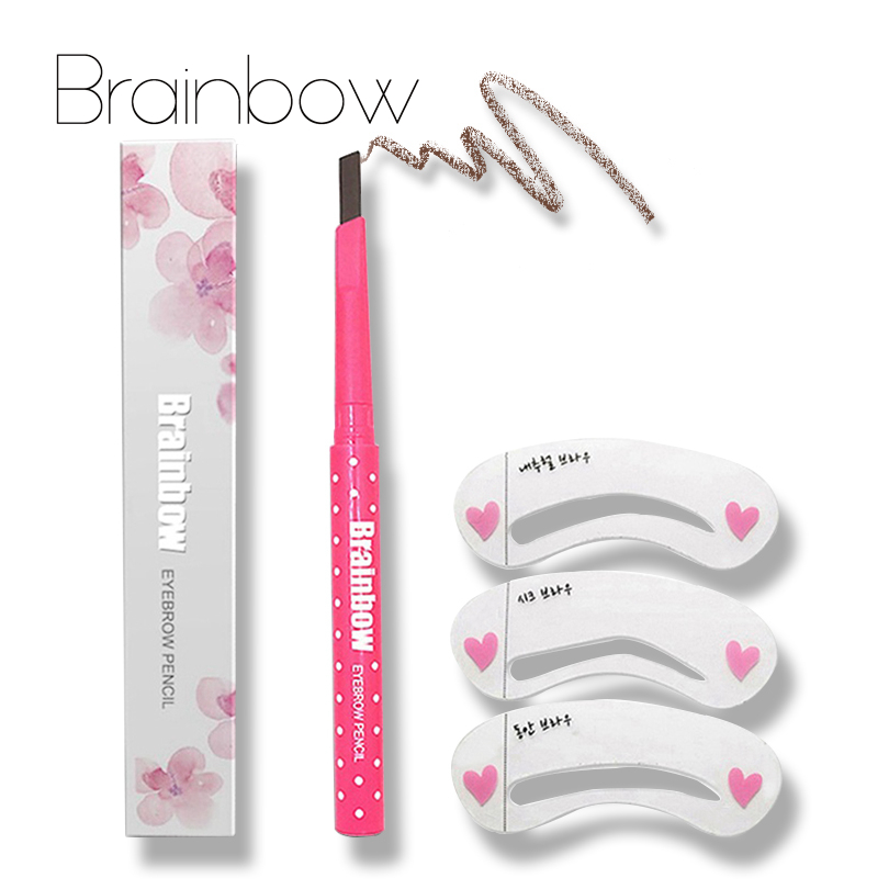 Brainbow Eyebrow Pencil Longlasting Waterproof Durable Automaric Eyebrow Liner 3 Eyebrow Shape Stencils Grooming Kit Makeup Tool