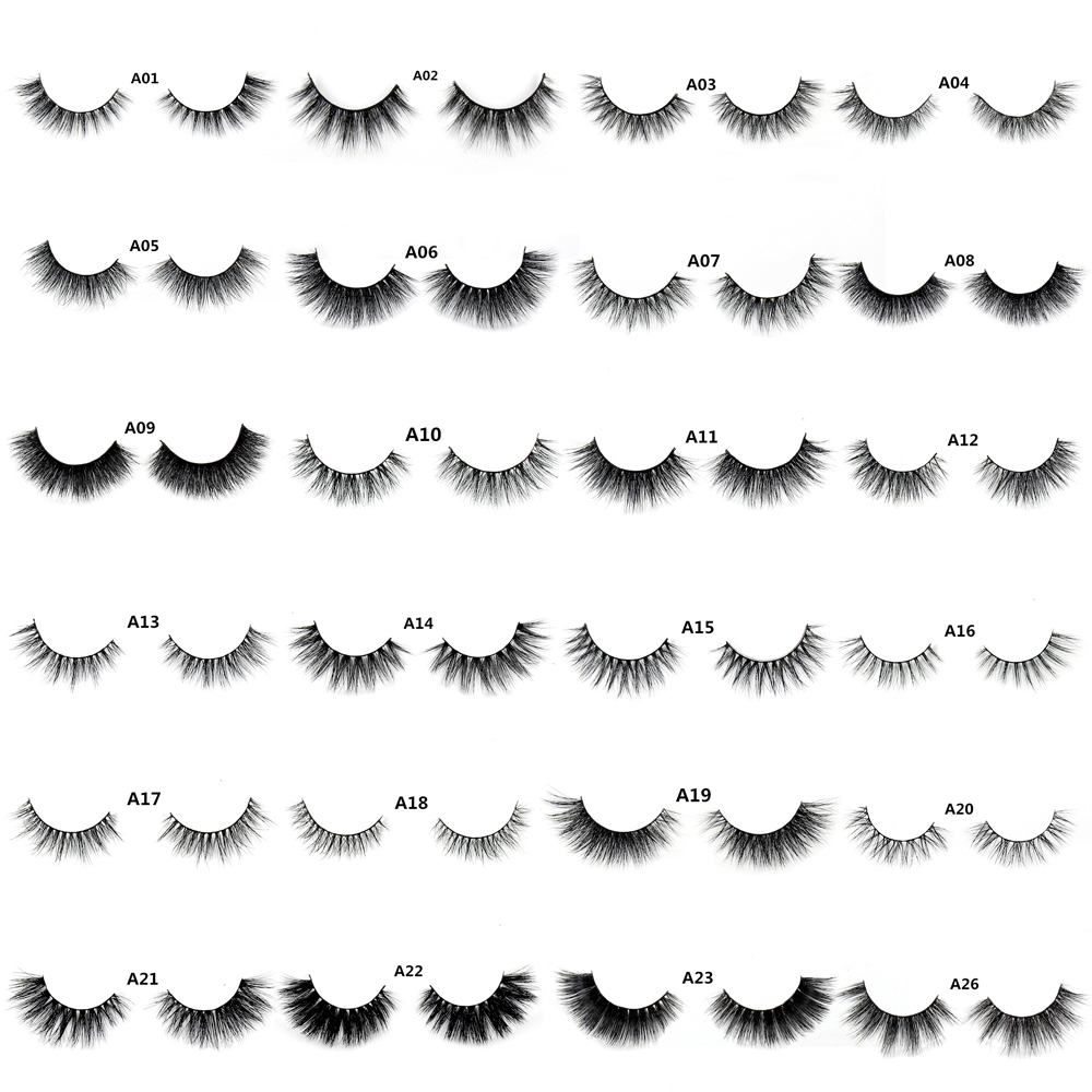 LEHUAMAO False Eyelashes 3D Mink Eyelash Real Mink Håndlavede Crossing Lashes Individual Strip Tykke Lash Falske Øjenvipper A04