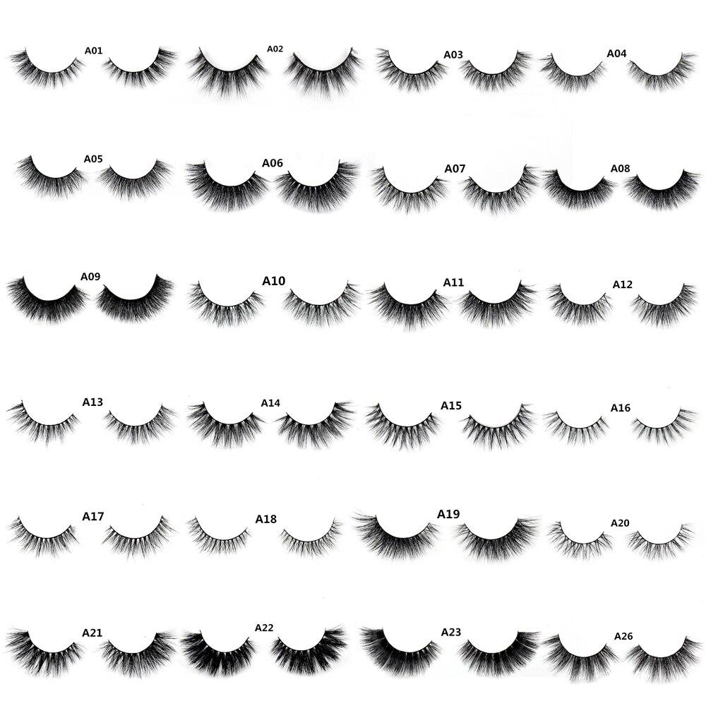 LEHUAMAO False Eyelashes 3D Mink Eyelash Real Mink Handmade Crossing Lashes Individual Strip Thick Lash Fake Eyelashes A04