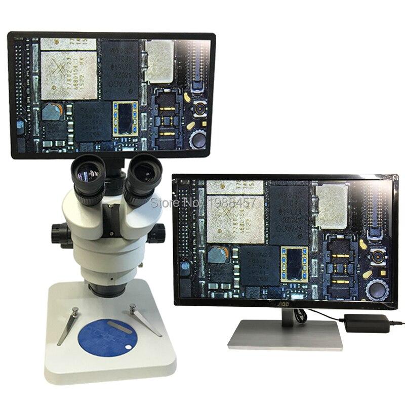 Full HD 11.6 pouces affichage intégré caméra de mesure HDMI Microscope stéréo trinoculaire 7X-90X détection de puce de Zoom continu
