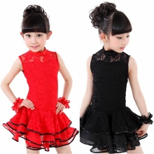 5pcs/lot Free Shipping Red Black Yellow Children Ballroom Dance Dress Kids Girls Lace Summer Clothes Stage Salsa Latin Costumes