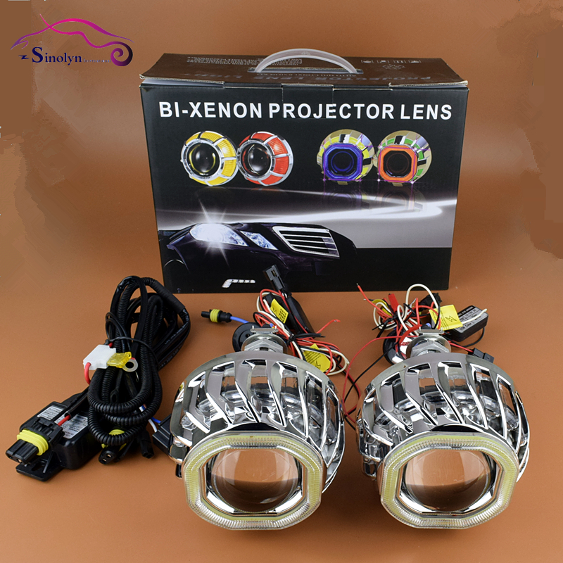 Car Styling Double Dual LED COB Angel Eyes Halo 2.8'' HID Bi xenon Lens Projector Headlight Lenses Kit Daytime Running Lights  car styling automobiles 3 0 metal bi xenon hid lens with led cob drl angel eyes for projector headlight h1 h4 h7