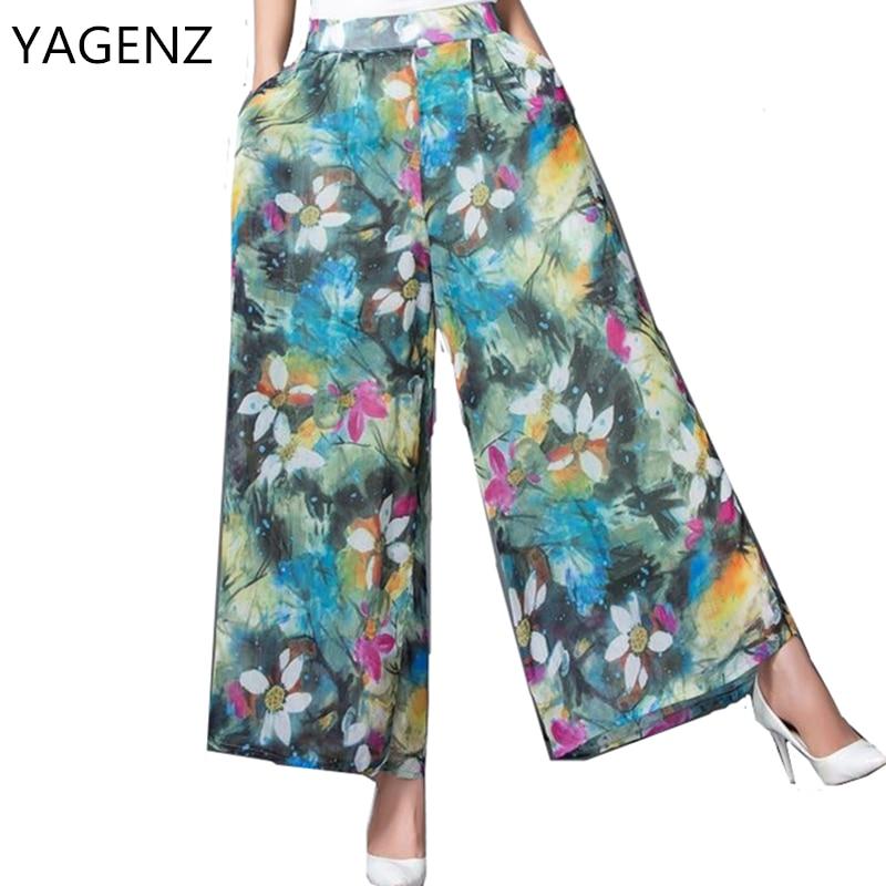 YAGENZ Ladies   Pants   2017 Fashion Loose New   Wide     leg     pants   Casual Summer Elastic waist Nine Yards-  Pants   Print Women Plus Size