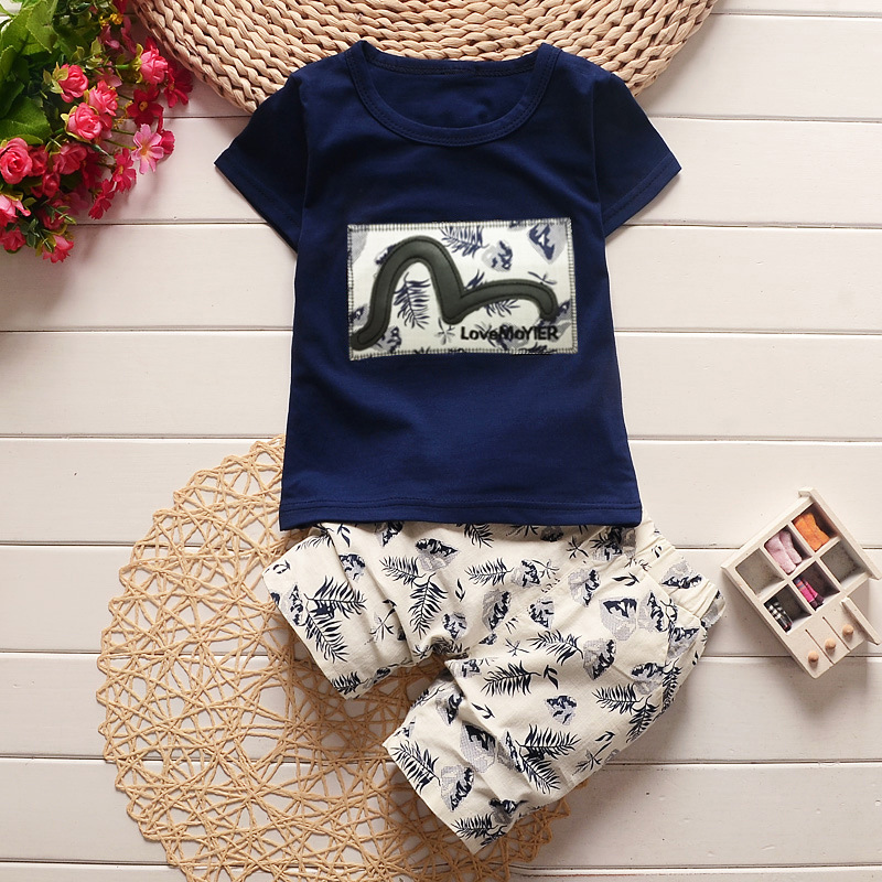 Casual Children Boys Clothes Sets 2017 Summer Kids 2PCS Sport Suits Short Sleeve T-Shirt+Shorts Toddler Cartoon Printed Clothing kids clothes boys clothing sets summer sport suit children short sleeve camouflage pant suits 1 4t toddler tracksuits 2017