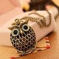 2016 venda Quente popular ouro retro oco coruja colar de cadeia longa camisola das Mulheres Camisola Da Moda de Decoração Acessórios