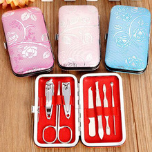 все цены на 7 in 1 Stainless Nail Clipper Cutter Trimmer Ear Pick Grooming Kit Manicure Set Pedicure Toe Nail Art Tools Set Kit онлайн