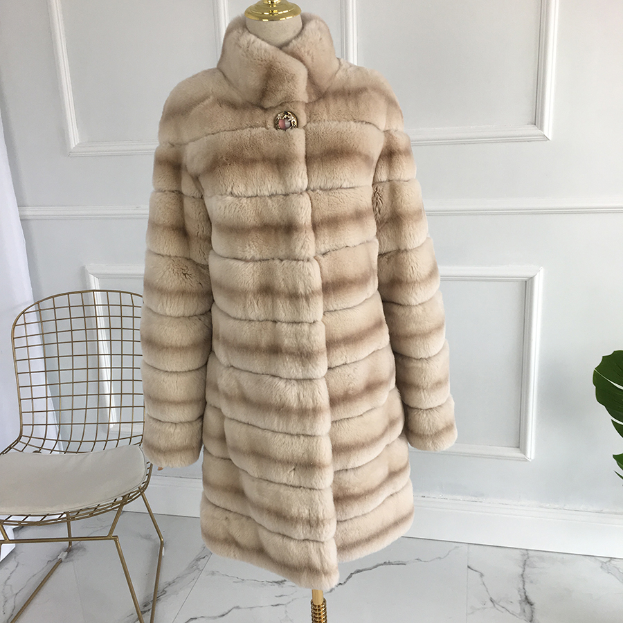 2019 New Long Real Rex Rabbit Fur Coat Jacket Stripe  Winter Fur Coat Fashion With Standing Collar Women Natural Fur Coat
